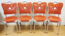 SET OF 4 SPARTAN MID CENT KITCHEN CHAIRS. CHROME FRAMES. DEEP SALMON PINK AND WHITE. PHILA.