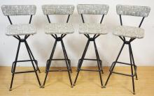SET OF 4 STEEL FRAME BAR CHAIRS W/ ABSTRACT BLACK, WHITE AND GRAY DESIGN. 35 IN H  DAYSTROM FURN. OLEAN NY