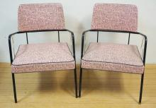 PAIR OF PINK AND BLACK STEEL FRAME & VINYL ARM CHAIRS. ABSTRACT PATTERN.