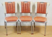 SET OF 3 CHROME AND VINYL KITCHEN CHAIRS. *KROMETTE DINETTES*, RACHLIN FURN. READING PA