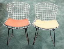 PAIR OF KNOLL STEEL WIRE CHILD'S CHAIRS W/ ORIGINAL SEAT CUSHIONS. 15 3/4 IN WIDE, 23 1/2 IN H
