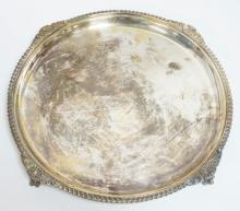 MAPPIN BROTHERS *QUEEN'S PLATE* TRAY WITH BALL & CLAW FEET. 12 IN DIA.