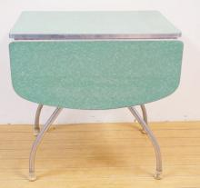 CHROME FORMICA TOP DROP LEAF KITCHEN TABLE. GREEN. 30 IN X 22 IN CLOSED. DROPS ARE 13 IN