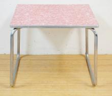 SMALL CHROME FRAME TABLE W/ PINK FORMICA TOP. 25 I9N X 20 IN, 21 3/4 IN H