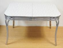 SPARTAN FORMICA TROP CHROME FRAME TABLE. GRAY AND WHITE SUNBURST DESIGN.  47 1/2 IN X 36 IN