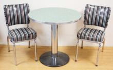 3 PC CAFÉ SET: 30 IN ROUND PEDESTAL TABLE W/ GREEN FORMICA TOP AND 2 CHROME AND VINYL CHAIRS- HARTFORD TEXTILE CORP. 1958.