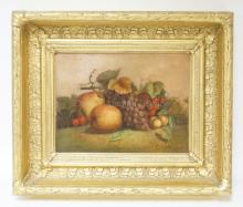 O/C FRUIT STILL LIFE BY G. FORSTER, 1870 IN A GILT VICTORIAN FRAME. 12 IN X 9 IN