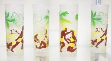 SET OF 4 FEDERAL FROSTED GLASSES W/ CAVEMEN. 6 3/4 IN H