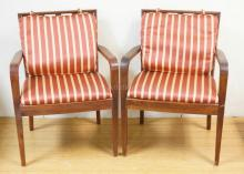 PAIR OF MODERN STYLE ARMCHAIRS WITH STRIPED SEAT AND BACK CUSHIONS. 34 IN TALL.