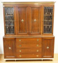 MIDCENTURY MODERN CHINA CABINET. 64 1/2 IN WIDE, 74 IN TALL.