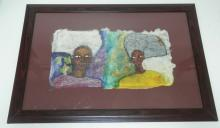 MODERN PAINTING ON SILK PAPER. SIGNED DINDGA MCCANNON AND TITLED *OVER 60 AND THRILLED*. 19 1/2 X 10 1/4 IN.