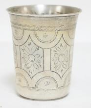 .875 RUSSIAN SILVER CUP WITH ENGRAVED DECORATION.  MOSCOW. 1.89 TROY OZ. 2 5/8 IN TALL.