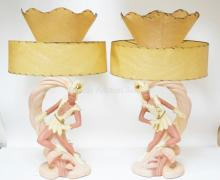 PAIR OF FIGURAL CERAMIC LAMPS DEPICTING ROBIN HOOD BY CONTINENTAL ART CO.