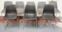 8 KRUEGER MODERN CHROME & MOLDED PLASTIC CHAIRS. 3 BLACK, 5 GRAY.