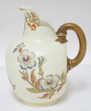 ROYAL WORCESTER PITCHER FINELY DECORATED WITH FLOWERS ON ALL SIDES. 7 3/4 IN.