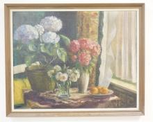 OIL ON CANVAS SIGNED *MARIE HEILBRONER*. STILL LIFE OF FLOWERS & FRUIT. 38 1/2 X 30 3/4 IN.