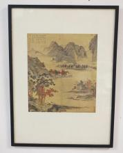 CHINESE PRINT TITLED *A FERRY SCENE IN AUTUMN BY CH'IU YING* FROM THE NATIONAL PALACE MUSEUM IN CHINA. 8 1/4 X 9 1/2 IN.