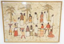 AFRICAN ART PRINT ON FABRIC. 44 1/2 X 32 1/2 IN.