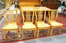 DANISH MODERN TABLE & 4 CHAIRS. TABLE HAS AN INSET STONE TILE TOP AND IS MADE BY GANGSO MOBLER. CHAIRS MADE BYU *SHIN-LEE*