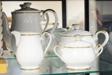4 PIECE ESCHENBACH BAVARIAN TEA & COFFEE SET WITH CREAM & SUGAR. TALLEST IS 9 1/2 IN.