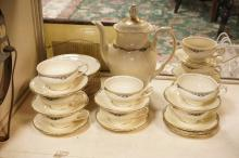 BAVARIAN COFFEE SET. 10 CUPS & SAUCERS, 10 PLATES, & COFFEE POT MEASURING 11 IN.