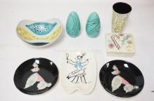 8 PIECES OF MIDCENTURY MODERN CERAMICS INCLUDING 3 POODLE DISHES, A COVERED BOX, S&P SHAKERS, A TUMBLER AND A BOWL.