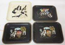 4 VINTAGE METAL TRAYS WITH DOGS. 3 FRENCH, 1 AMERICAN.