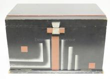 ART DECO PAINTED BOX WITH HINGED LID AND A DROP FRONT WITH INTERIOR DRAWERS.