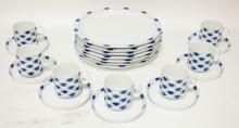 14 PCS OF BLUE & WHITE ROSENTHAL *STUDIO LINE*. 7 PLATES AND 7 CUPS & SAUCERS.