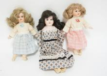 GROUP OF 3 BISQUE HEAD DOLLS, 2 A&M, ONE ALMA. TALLEST 13 IN