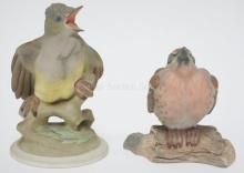 2 BOEHM PORCELAIN BIRDS. *BABY CRESTED FLYCATCHER* #458 AND *FLEDGLING RED POLL* #495. TALLEST IS 5 1/8 IN.