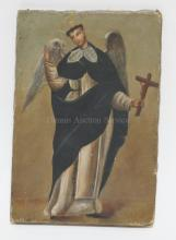 UNFRAMED O/C ICON. ANGEL HOLDING A CROSS. 9 1/4 IN X 13 1/2 IN