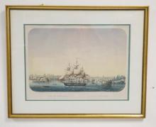FRAMED FRENCH PRINT *VUE DE NEW-YORK*. 19 IN X 14 IN