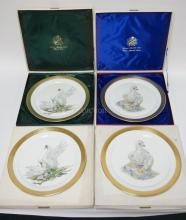 4 LARGE BOEHM PORCELAIN PLATES- 2 EACH *BIRD OF PEACE* AND *YOUNG AMERICA* W/ BOXES. 12 3/4 IN