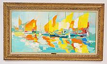 FRAMED OIL ON CANVAS BY NICOLA SIMBARI (1927-2012) TITLED *SAILBOATS AT CHIOGGIA*. 38 1/2 IN X 19 IN. SPOT OF PAINT LOSS LOWER RIGHT.
