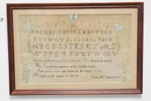 FRAMED SAMPLER BY LYDIA W. UNDERWOOD, *WINTER OF 1828*. HAS FLORAL EMBROIDERY. 16 1/2 IN X 10 1/4 IN