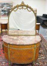 EXCEPTIONAL FRENCH  PAINT DECORATED DEMILUNE MARBLE TOP DRESSER W/ SATINWOOD INLAY OF BOWS AND SWAGS W/ CUT MIRROR. 3 DRAWERS AND 2 DOORS. CENTER BAR OF ONE DRAWER PULL MISSING. 48 1/2 IN WIDE. FINISHED TOP UNDER THE MULTICOLOR BEVELLED MARBLE.