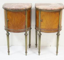 PAIR OF EXCEPTIONAL FRENCH PAINT DECORATED ONE DOOR MT NIGHT STANDS. FINISHED TOPS UNDER THE MULTICOLORED MARBLE.