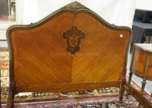 EXCEPTIONAL FRENCH PAINT DECORATED AND FLORAL INLAID FULL SIZE BED.