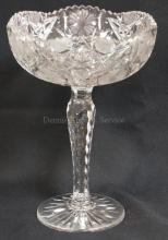 CUT GLASS TALL STEMMED COMPOTE. 11 IN H, 7 3/4 IN DIA