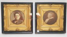 PAIR OF SHADOWBOX FRAMES. ORNATE GILT INTERIOR FRAMES W/ PHOTOS OF WOMEN. 11 3/4 IN SQUARE, 2 IN DEEP.