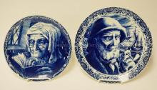 2 BOCH FRERES DELFT PORTRAIT PLATES. OLD SALT AND WOMAN READING. 11 1/4 IN AND 10 IN