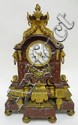 BRONZE & RED MARBLE CLOCK; RAINCO FRES; 24 IN H,