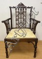 GEORGE III MAHOGANY ARM CHAIR W/PAGODA CREST; 28