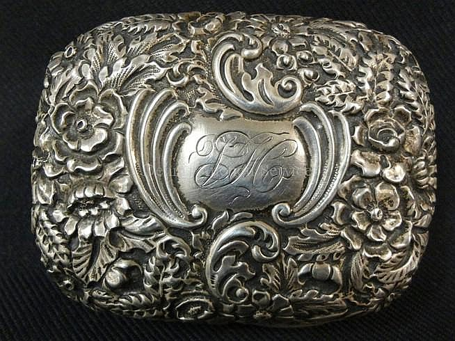 STERLING SILVER SOAP CASE W/FLORAL EMBOSSING;