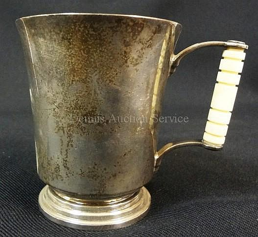 ENGLISH SILVER MUG W/BONE OR IVORY HANDLE; MAKRED