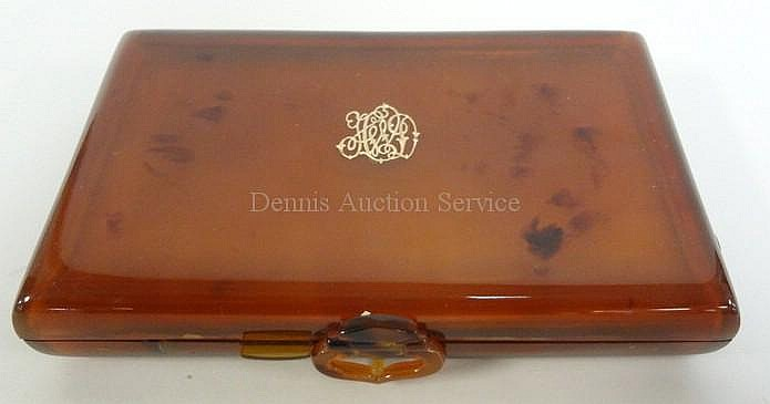 TORTOISE SHELL VANITY CASE W/BEVELLED MIRROR, COMB