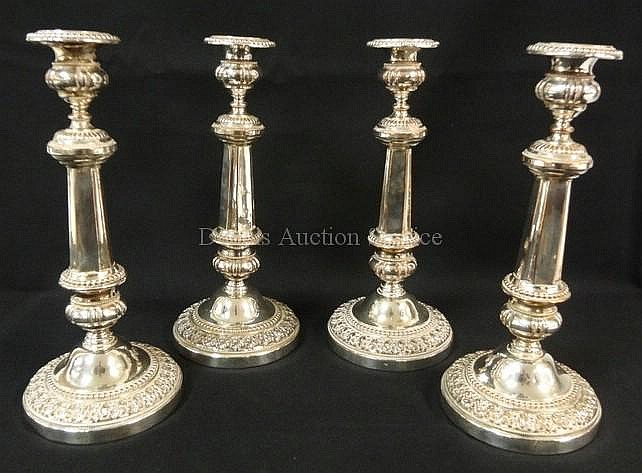SET OF 4 SILVER PLATED CANDLESTICKS; 10 3/4 IN H;