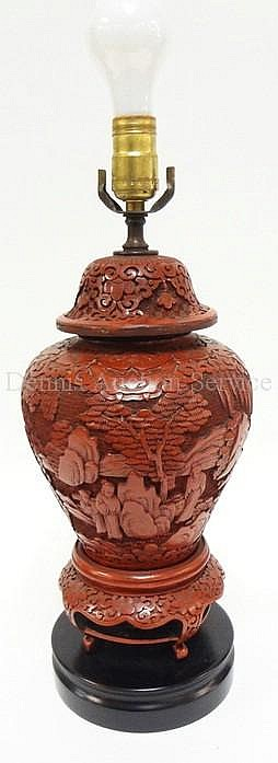 RED CINNEBAR COVERED JAR, MOUNTED AS A LAMP; JAR