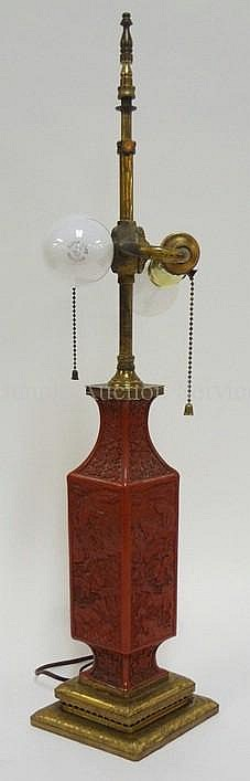 RED CINNEBAR VASE MOUNTED AS A LAMP; TOTAL HEIGHT